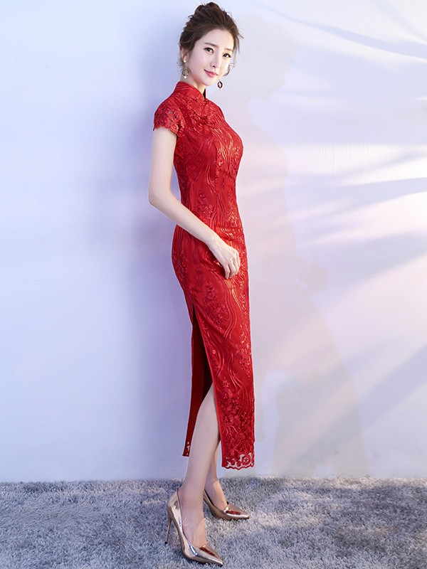 Wine Red Lace Tea Length Qipao / Cheongsam Party Dress