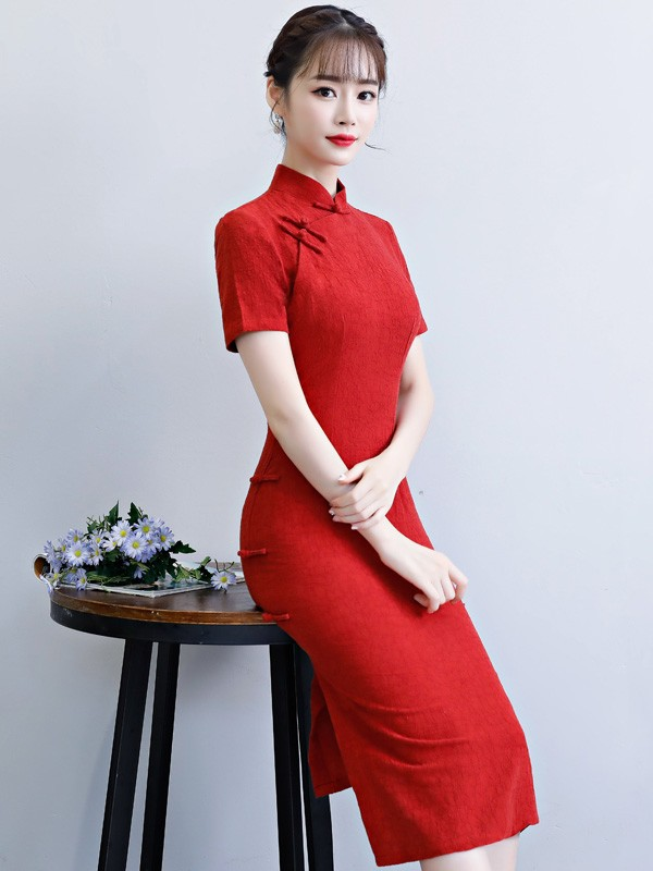 Red Mid Length Qipao / Cheongsam Wedding Dress