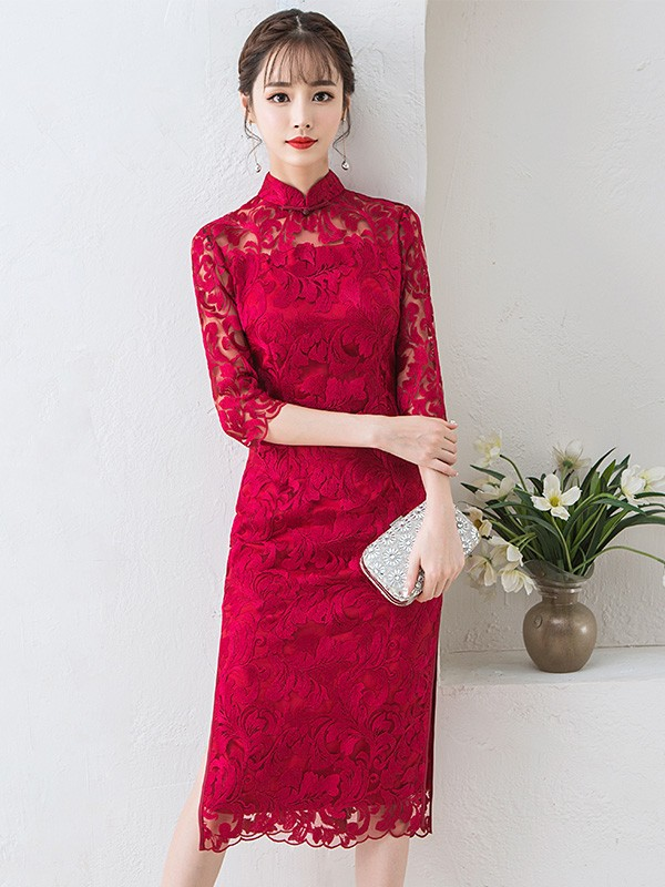 Wind Red Lace Mid Qipao / Cheongsam Dress with Half Sleeve