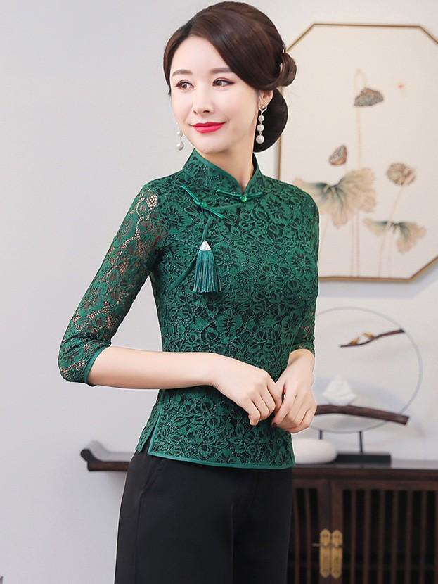 Green Lace Qipao / Cheongsam Blouse Top