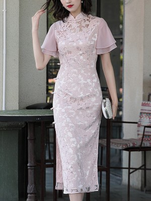 2019 Pink Lace Mid Length Modern Qipao / Cheongsam Dress