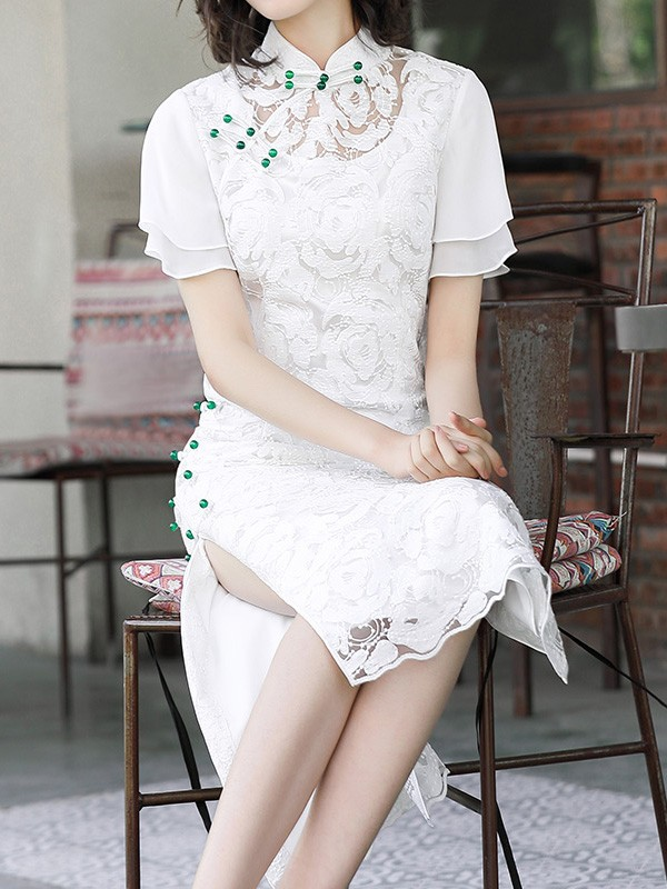 2019 White Lace Mid Modern Qipao / Cheongsam Dress with Flutter Sleeve