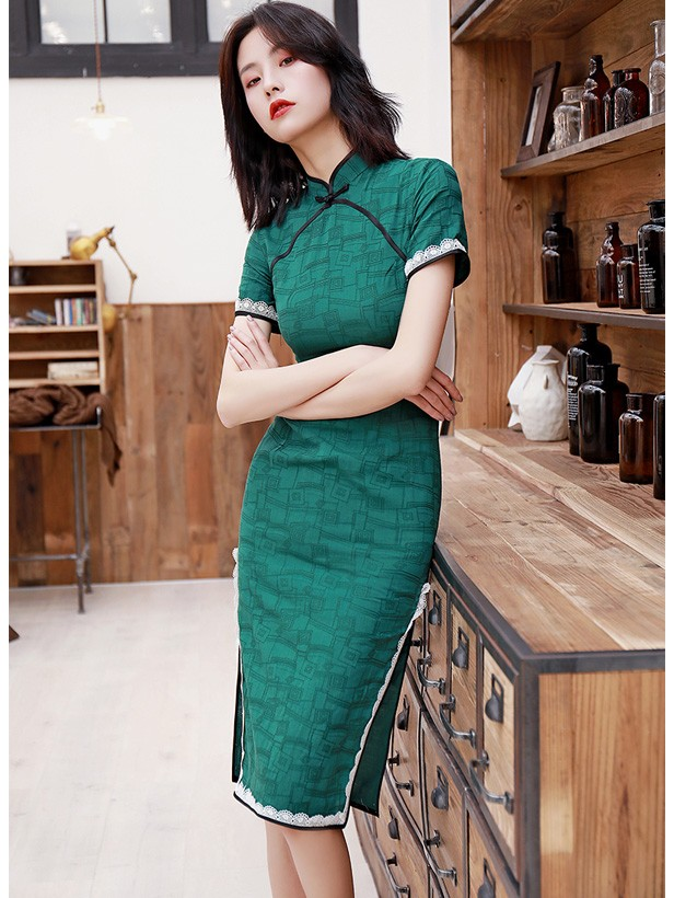 Green Geometric Print Midi 2019 Qipao / Cheongsam Dress