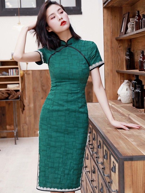 4403513bbc Green Geometric Print Midi Modern Qipao   Cheongsam Dress - CozyLadyWear