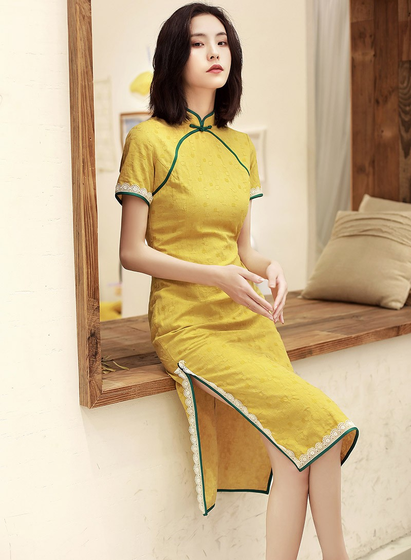 Lemon Yellow Midi 2019 Summer Qipao / Cheongsam Dress