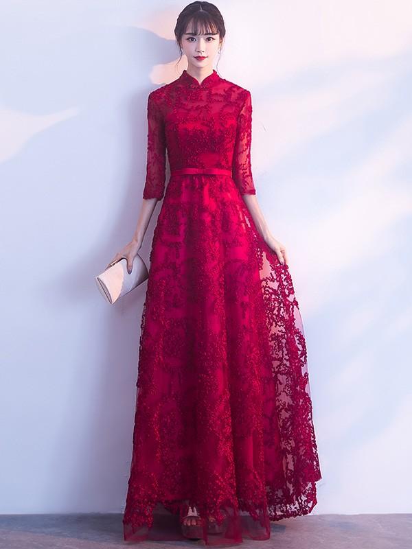 Wine Red Long A Line Qipao /Cheongsam Formal Dress