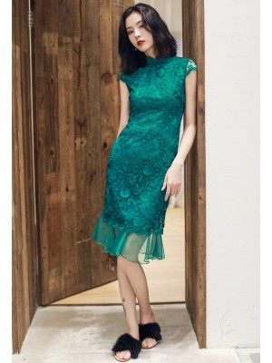 Green Lace Qipao / Cheongsam Party Dress with Peplum Hem