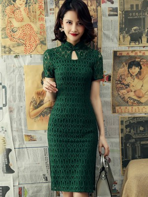 Green Lace Keyhole Modern Qipao / Cheongsam Dress