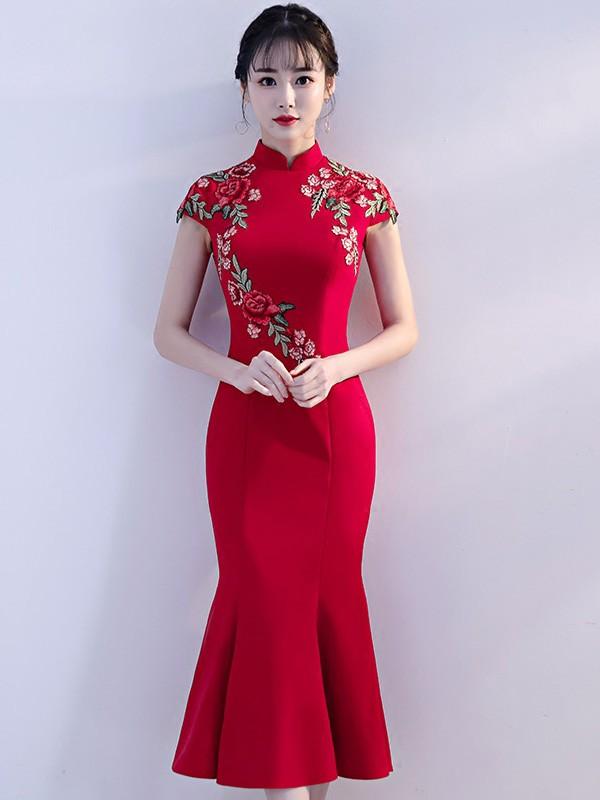 Red Embroidered Midi Qipao / Cheongsam Evening Dress