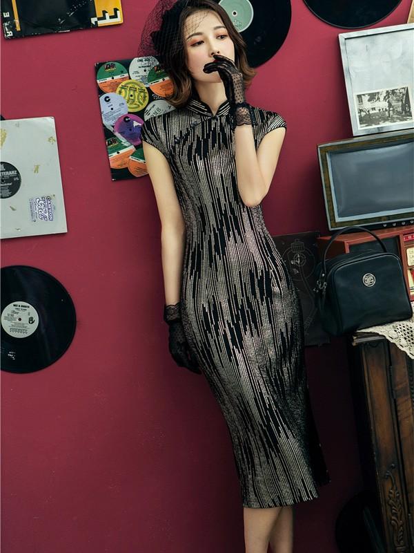 Shimmering Striped Black Cheongsam / Qipao Dress