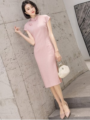 Pink Striped Mid Cheongsam / Qipao Dress