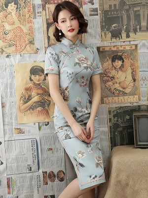 Blue Floral Mid 2019 Cheongsam / Qipao Party Dress