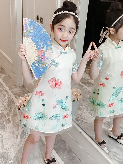 Lotus 2019 Summer Kids Girl Cheongsam / Qipao Dress