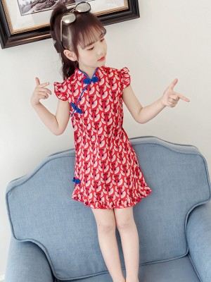 Red Frill Sleeve Kids Girl Cheongsam / Qipao Dress