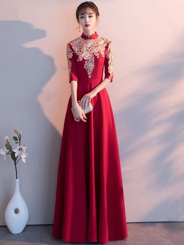 Red A Line Floor Length Qipao / Cheongsam Evening Dress with Gold Appliques
