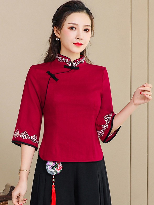 Red Linen Qipao / Cheongsam Blouse Top