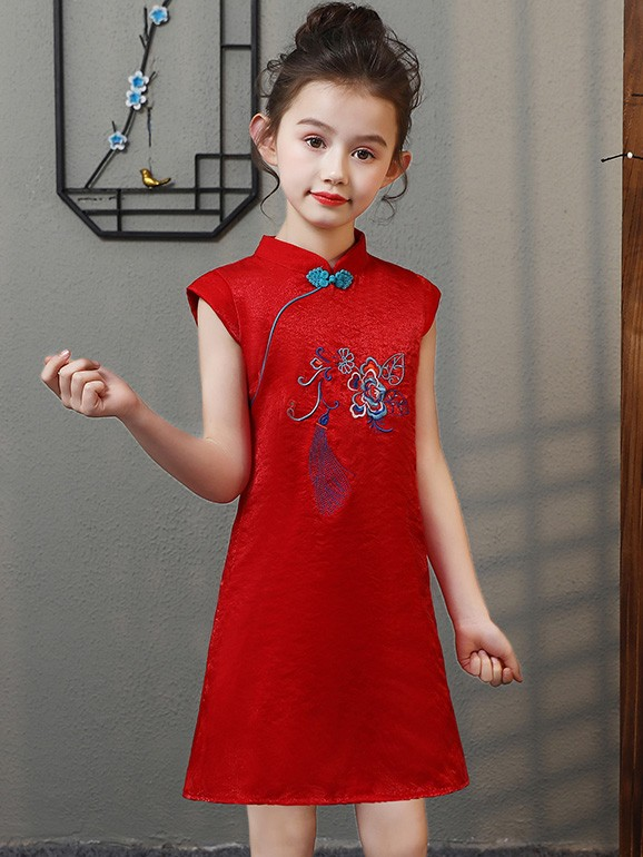 Red Embroidered Kids Girl Cheongsam / Qipao Dress