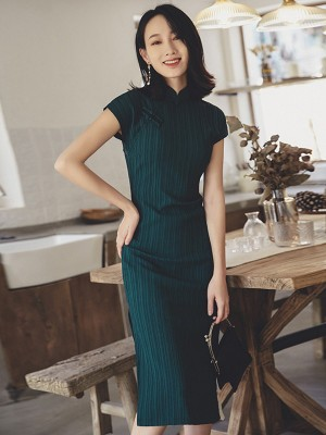 Green Striped Mid Cheongsam / Qipao Dress