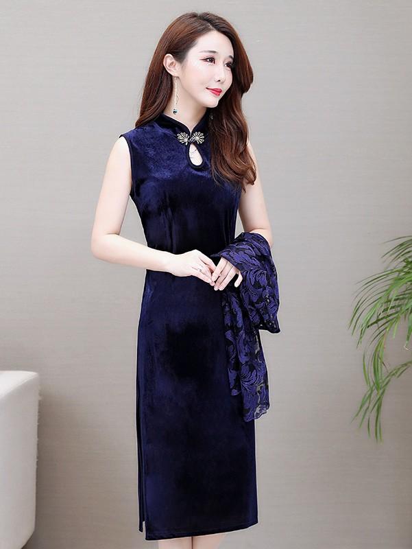 Two Piece Bride Mother Blue Velvet Qipao / Cheongsam Dress