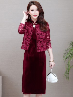 Two Piece Bride Mother Red Velvet Qipao / Cheongsam Dress