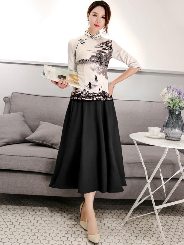 2019 White Printing Qipao / Cheongsam Blouse Top with 3/4 Sleeve