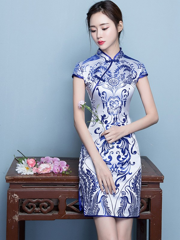 Short Blue & White Floral Qipao / Cheongsam Dress