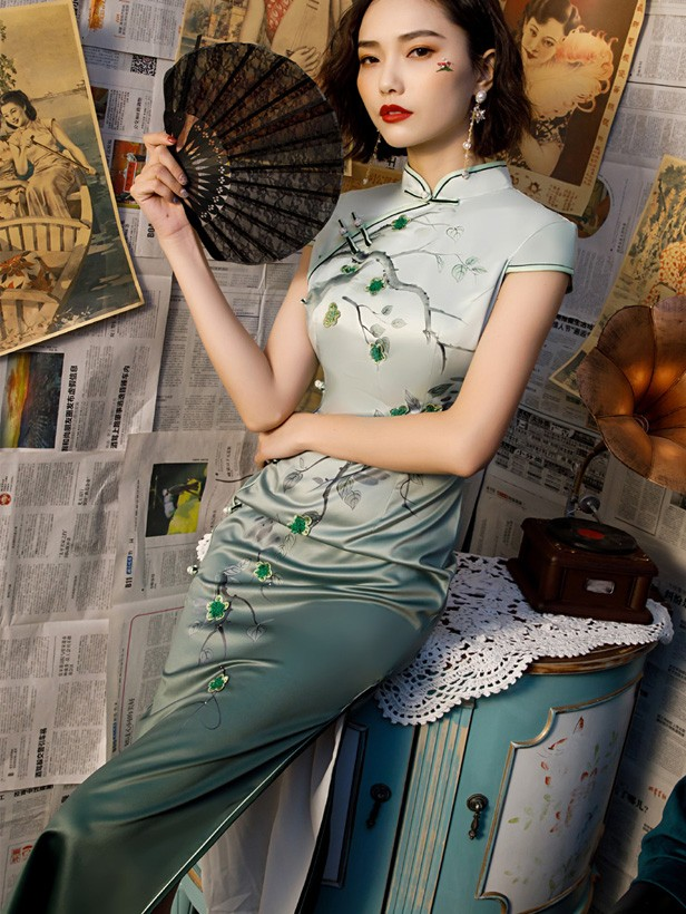 2019 Green Floral  Long Cheongsam / Qipao Party Dress
