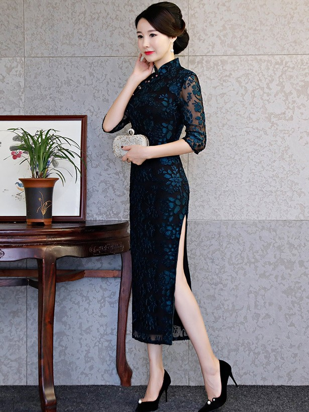 Blue Floral Mother's Velvet Long Qipao / Cheongsam Dress