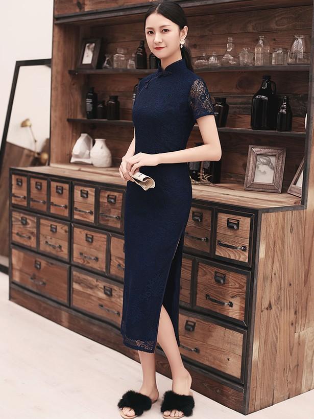 Navy Blue Lace Slit Long Qipao / Cheongsam Prom Dress