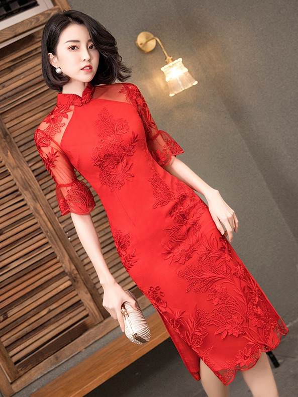 Red Frill Sleeve Lace  Wedding Qipao / Cheongsam Dres