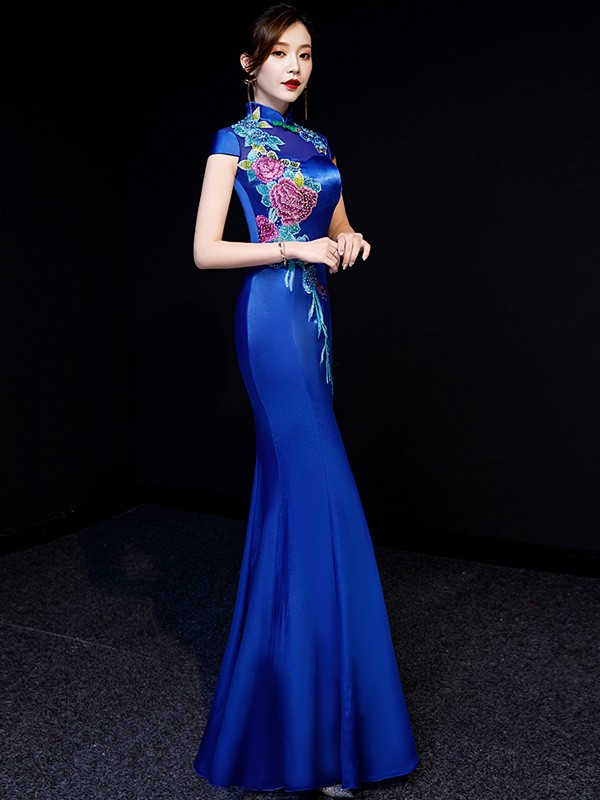 Blue Beaded Floral Fishtail Qipao / Cheongsam Evening Dress