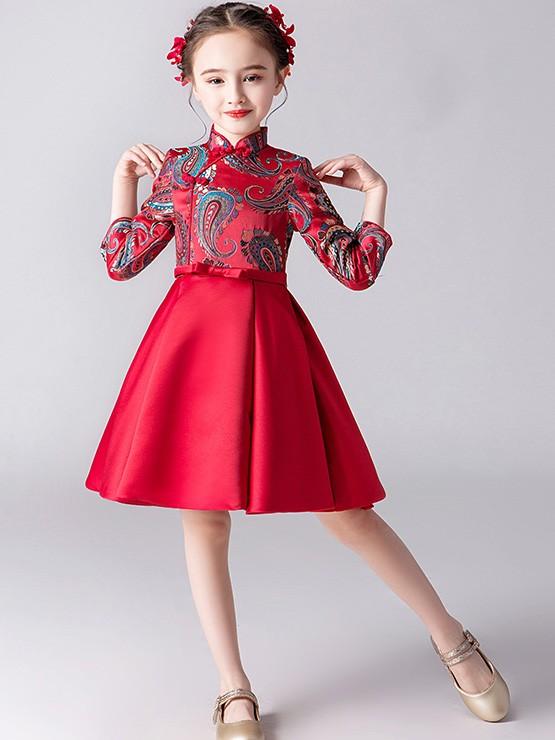 Red Woven A-Line Girl Qipao / Cheongsam Dress