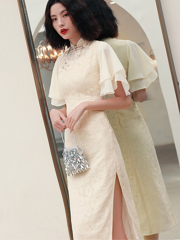 Champagne Lace Tea Length Qipao / Cheongsam Dress with Flutter Sleeve