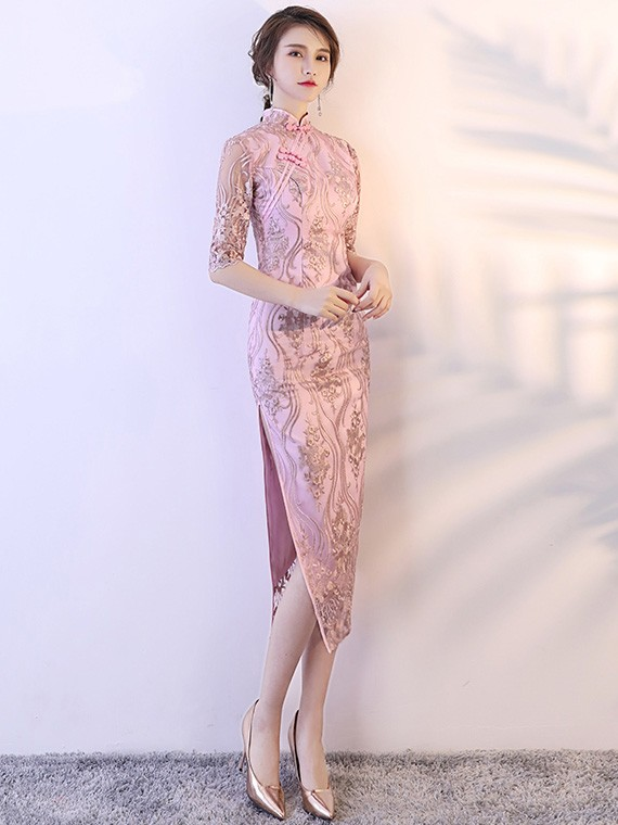 Pink Lace Tea Length Qipao / Cheongsam Party Dress
