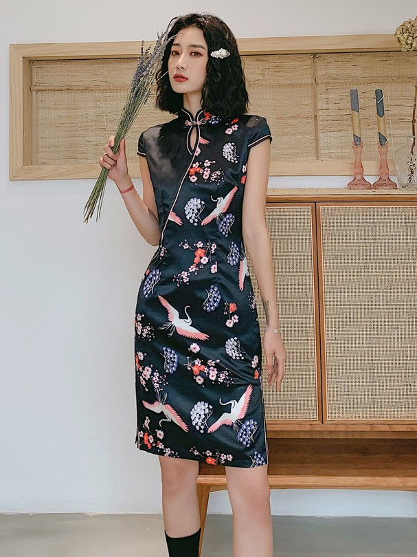 Black Printed Crane Bird Qipao / Cheongsam 2019 Graduation Dress