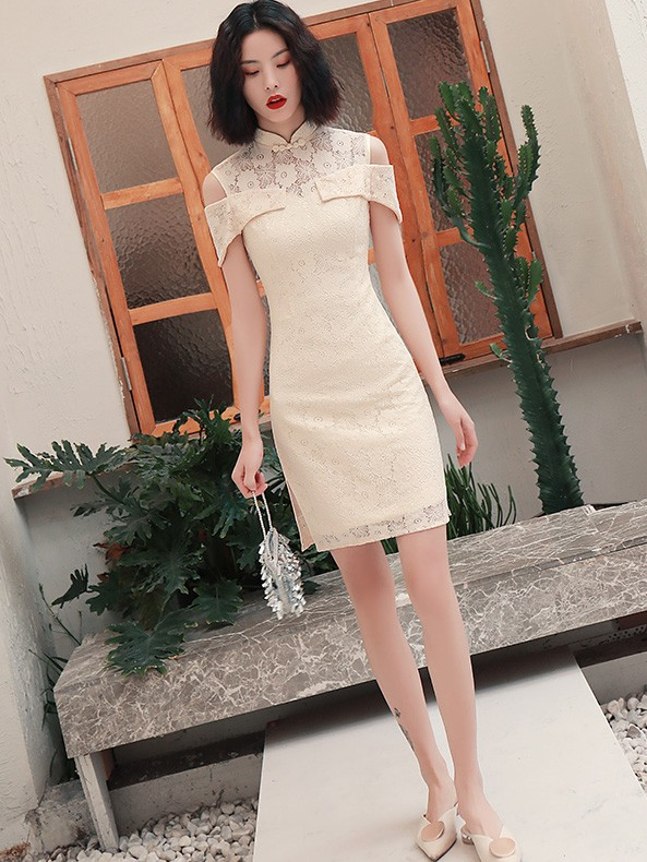 Cold Shoulder Lace Qipao / Cheongsam  Graduation Dress