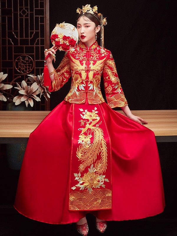 Red Embroidered Phoenix Chinese Wedding Qun Kwa