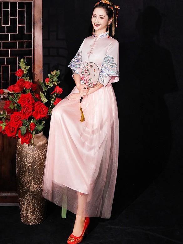 Pink Shimmering Bridesmaid Wedding Qun Kwa & Tulle Skirt