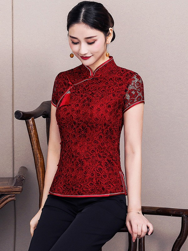 Wine Red Lace Qipao / Cheongsam Blouse Top