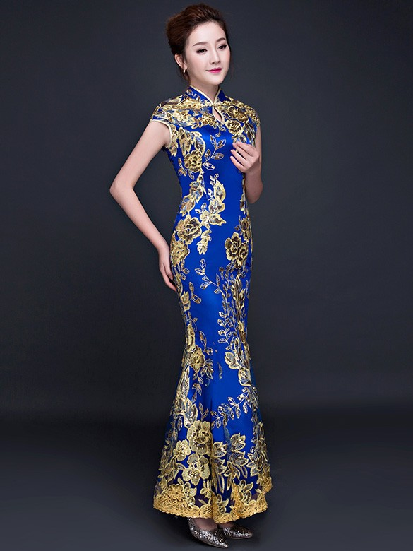 Blue Sequined Fishtail Qipao / Cheongsam Wedding Dress