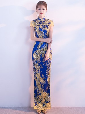 Blue Sequined Floral Long Qipao / Cheongsam Evening Dress