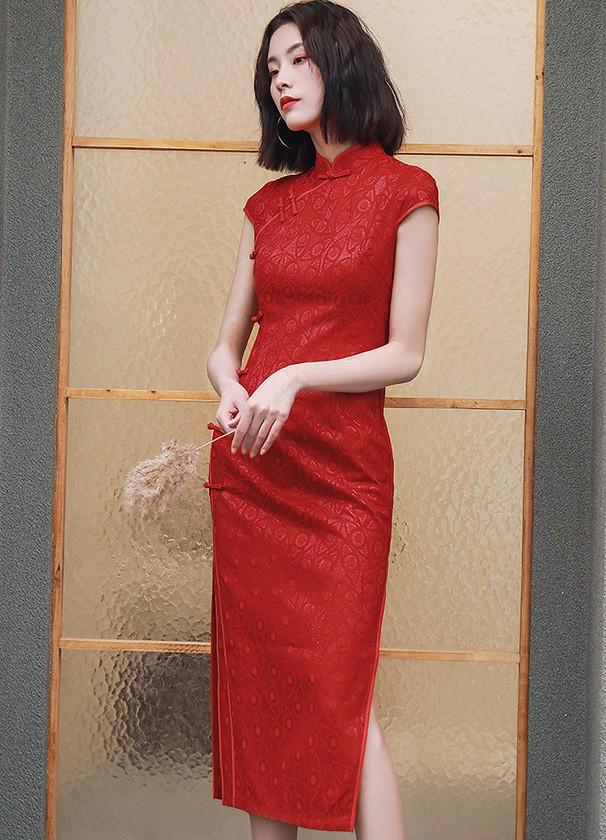 Red Long Split Qipao / Cheongsam Wedding Dress