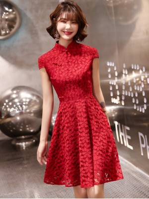 Burgundy A-Line Lace Short Qipao / Cheongsam Party Dress