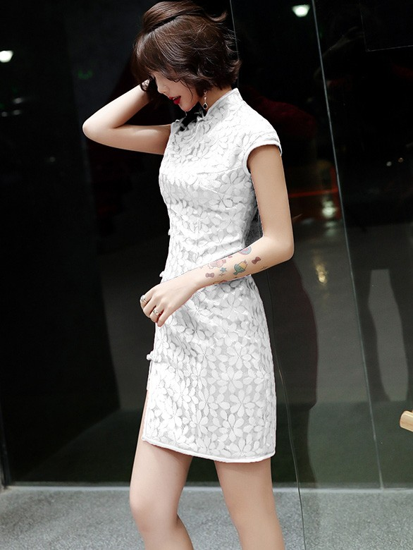 Red White Lace Short Qipao / Cheongsam Party Dress