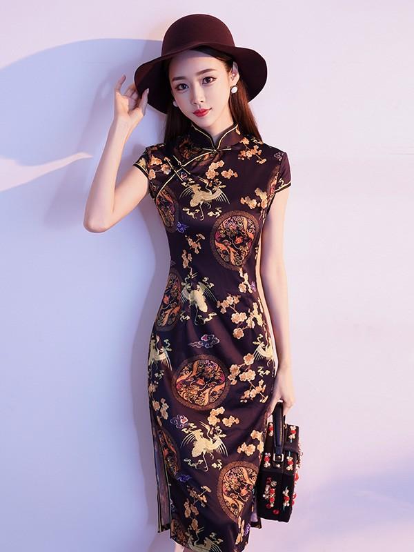 Black Vintage Printing Midi Qipao / Cheongsam Dress
