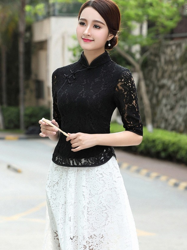 Black Lace Qipao / Cheongsam Blouse Top
