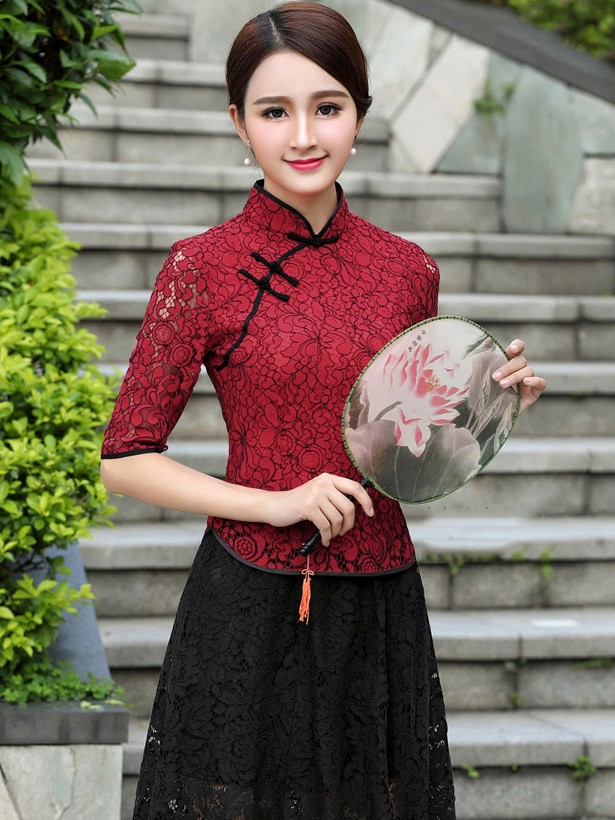 Red Lace Qipao / Cheongsam Blouse Top