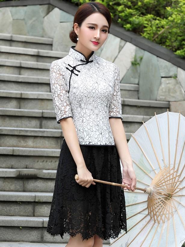 White Lace Qipao / Cheongsam Blouse Top