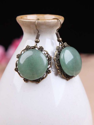 Green Jade Dangle Earrings, Pierced Clip On Earrings
