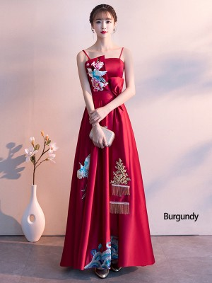 Wine Red Embroidered Long Slip A-Line Evening Dress